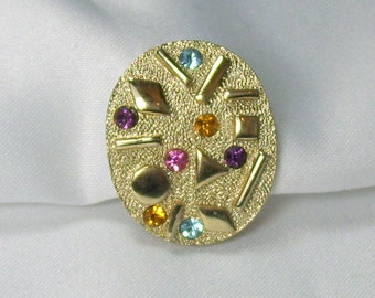 Vintage Sarah Coventry Sultana Earring Single Replacement Pink Yellow Blue Purple Rhinestones