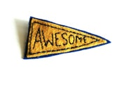 Awesome felt brooch. Hand embroidered patch pin. FREE UK SHIPPING.