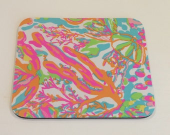 Mouse Pad  made with Lilly Pulitzer Signature Fabric Scuba to Cuba
