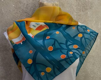 Silk hand-painted shawl - Tarocco. Orange, turquoise, blue/green, red colors.
