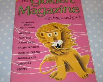 Golden Magazine for Boys and Girls Pink Lion March 1964 Vintage Children Book