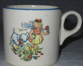 Vintage Baby Juice Cup Mug Mary Had a Little Lamb Sheep Flowers Ceramic Blue Stripe Rim Antique Nursery Rhymes