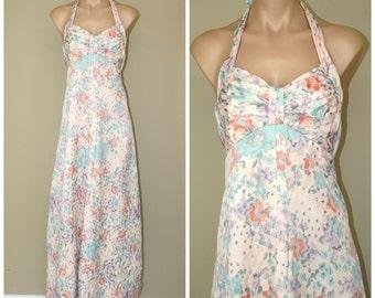 Vintage 60s 70s Vintage Maxi Pastel Floral Halter Dress size XS XXS