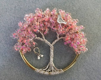 3 Inch Breast Cancer Awareness Tree of Life Suncatcher
