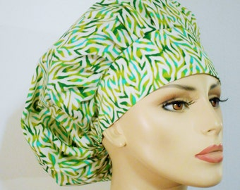 Fields Of Dreams Bouffant Medical Scrub Hat Shades of Green on a White background.