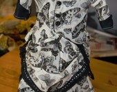 doll skirt, over skirt, top black and white butterflies black lace bustle back Victorian style