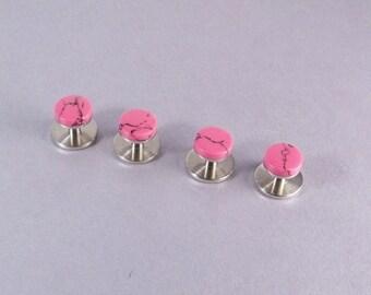 Pink Shirt Studs SHIPS IMMEDIATELY Handmade Pink and Black Tuxedo Shirt Studs