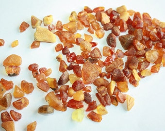 20 gram - Natural AMBER Undrilled Gemstone Nuggets - Sea Treasure - 3 - 12 mm Small Chips ///  波罗的海琥珀 /// 老琥珀 ///