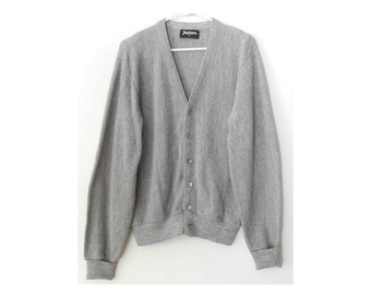 "Light Heathered Gray Button Up Cardigan Sweater - Jantzen Golf - Slouchy Oversized Boyfriend Sweater - Vintage 80s Mens 44"" Chest Size Large"