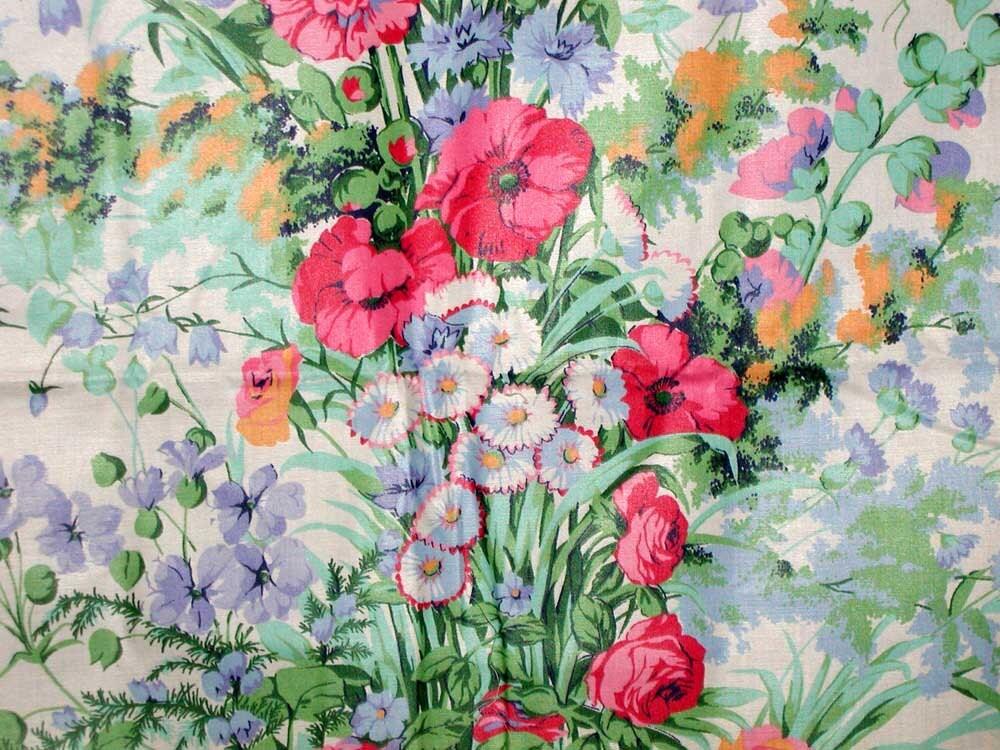 Vintage Cyrus Clark Mardi Gras Floral Chintz From