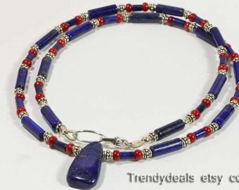 Coral & Lapis Lazuli Necklace, Lapis and Coral Beaded Necklace Lapis Lazuli Necklace Gift Idea tibetan necklace