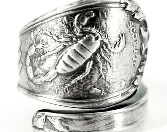 Scorpio Ring, Spoon Ring Sterling Silver, Zodiac Ring, Scorpion Ring, Handmade Gift, Custom Ring Size, Astrology Ring, Horoscope Ring