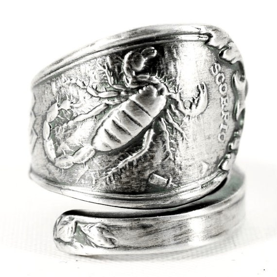 scorpio ring spoon ring sterling silver zodiac ring