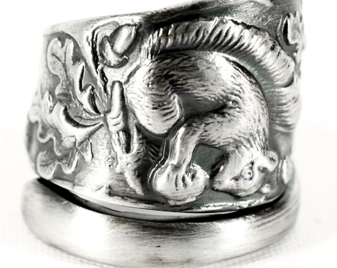 Squirrel Ring, Sterling Silver Spoon Ring, Squirrel Jewelry Woodland Animal Ring, Forest Animal Jewelry, Oak Leaf Ring, Nature Inspired 4884