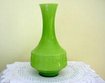 Opalina Fiorentina Empoli Lime or Apple Green & White Cased Glass Vase Mid Century Retro Chic  Italy