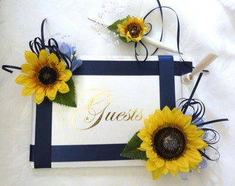 Sunflower Guest Book country wedding accessories