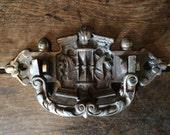 Vintage French large metal door knocker knock wings sand timer clock circa 1930-40's / English Shop