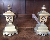 Vintage French brass and metal firedogs fireplace coal log fire support decor circa 1920-30's / English Shop