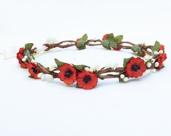 Red Poppy Flower Crown, Red Poppies, Poppy Headpiece, Rememberance Day, Valentine Flower Crown, Poppies, Red and White, Valentines Day