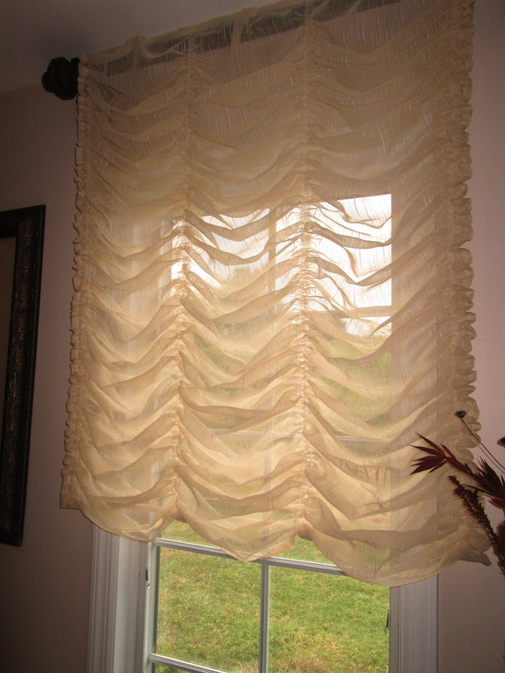 Austrian Balloon Shade Curtain Stationary In Cream Sheer