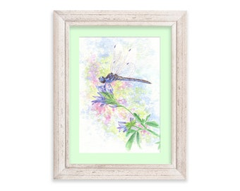 Lil' Blue Dragonfly with Purple Flowers