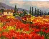 "Tuscany Landscape Poppy Field Original painting 5 x 7"""