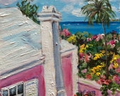 "Bermuda Cottage original  painting 6 x 6"""
