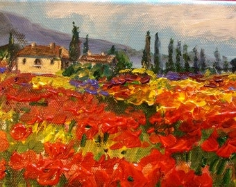 Tuscany Landscape Poppy Field Original painting 5 x 7""