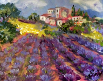 "Provence Landscape Lavender Field Original painting 6 x 8"""