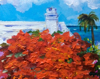 Bermuda landscape with poinciana tree painting 6 x 6""