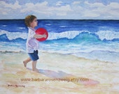 Beach Art, Beach Boy Print, Watercolor Beach Boy Art, Seashore Painting, Coastal Wall Art, Boy Room Decor, Nursery Wall Art, Red Ball Art