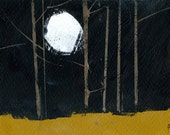 Original woodland painting forest painting - Midnight woodland walk one