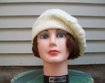 Vintage Acrylic Cable Knit Slouchy Beanie Hat / Fall / Winter Fashion