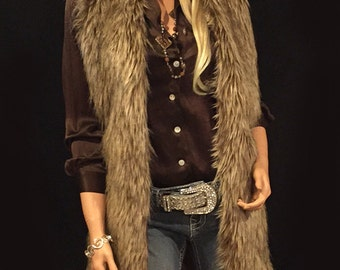 Long Faux Fur Vest In Brown Wolf Style: FVA514