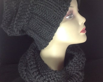 Wool cowl, knit tube scarf, winter coat fashion, black cowl, winter cowl, soft and cozy