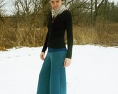 ON SALE - Organic Clothing - Wide Leg Wool Pants - Organic Merino Wool - Shown in Bluebird - Made to Order