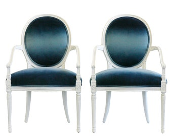 Upholstered Blue Ombre occasional chairs