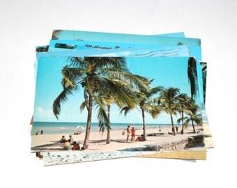 15 Vintage Florida Beaches Chrome Postcards - Used