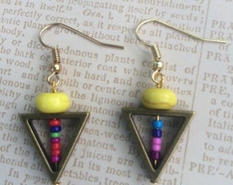 Gorgeous multicolor beaded triangle earrings