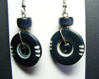 Dark Blue Carved Button & Bead Earrings