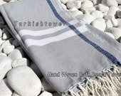 Turkishtowel-Soft-Hand woven,warp&weft cotton Bath,Beach Towel-Twill pattern,selvedge blue diamond line-Grey and white tail accents