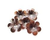5 Large Shiny Antiqued Copper Flower Stamping / Filigree Flower