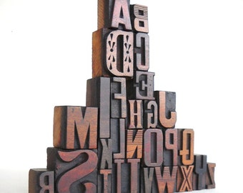 25% OFF - A to Z - Vintage Letterpress Wood Type Collection -LP13