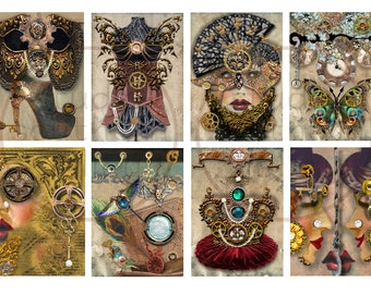 STEAMPUNK STYLE - Steampunk Fashion Themes Digital Collage 2.5x3.5inch ATC Background Scrapbooking Paper Print Supplies Gift Tag Journaling