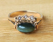 SALE Victorian Green Cat's Eye Chrysoberyl Rose Gold with Seed Pearls Engagement Ring