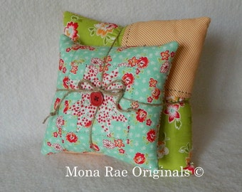 Stacking Star PIllows ~ Two Pillows 6 Inch and 12 Inch ~ Blue, Orange and Green Pillows ~ One of a Kind Pillows ~ Fall Decor