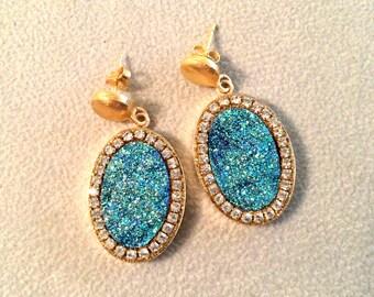 Sparkling Druzy Gold filled dangle earrings