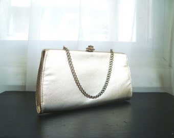Gold Formal Clutch, Pretty 1960's Metalic Gold Evening Convertible Clutch