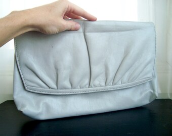 80's Envelope Clutch, Huge Dove Grey Faux Leather Convertible Clutch, With Shoulder Strap