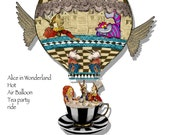 printable Alice in wonderland hot air balloon decoration steampunk collage sheet banner sign Hangable